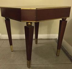 Original French Art Deco Dark Mahogany Wood Gold Gilt U0026 Brass Small Side  Table | EBay