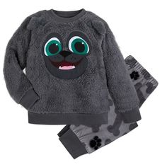When your young one is dog tired, then they'll love to snuggle up with their Puppy Dog Pal Bingo. This fun and cozy PJ set includes a faux sherpa long-sleeve top with Bingo's smiling face embroidered on the front and ears. Long Sleeve Tops, Long Sleeve Shirts, Party Frocks, Velour Pants, How To Make Animations, Dog Pajamas, Young Ones, Pj Sets, Printed Pants