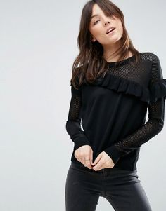ASOS Sweater With Mesh And Frill Detail - Black
