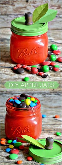 Here's a sweet little gift for your children's teachers - mason jars made to look like apples and filled with candy. How cute!