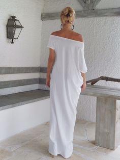 White Maxi Dress / White Kaftan / Asymmetric Plus Size Dress / Oversize Loose Dress / #35022 by SynthiaCouture on Etsy https://www.etsy.com/listing/203736950/white-maxi-dress-white-kaftan-asymmetric