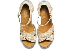 Toms Natural Crochet Women'S Strappy Wedges in Natural | Lyst