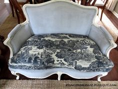 A House Romance: A Chalk- Painted Fabric French Settee!