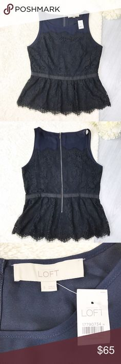 **NWT** LOFT Navy + Black Lace Peplum Top LOFT Navy + Black Lace Peplum Size 6 NEW WITH TAGS Excellent Condition! Exposed zipper Stunning Lace details   Feel free to ask for measurements!  MAKE AN OFFER! LOFT Tops Tank Tops