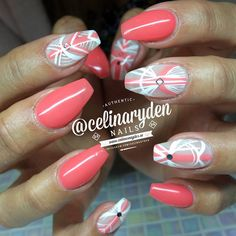 Coral and White Negative Space Nails