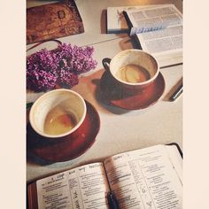 """rainydaysandblankets: """" Reading, talking, and loving with my best friend. (at Spyhouse Coffee) """" Homemade Journal, Bible Photos, Give Me Jesus, Daily Bread, God Is Good, How To Raise Money, Cool Words, Bible Verses, Best Friends"""