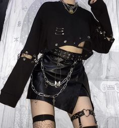 Sexy Punk Stitching Hollow Long Sleeve Short Loose Sweatshirt – ininplaza Source by Ininplaza fashion Punk Outfits, Gothic Outfits, Grunge Outfits, Girl Outfits, Fashion Outfits, Disney Outfits, Alternative Mode, Alternative Outfits, Alternative Fashion