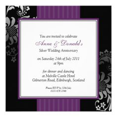 =>Sale on          Black & Purple Damask Anniversary Party Custom Invites           Black & Purple Damask Anniversary Party Custom Invites We have the best promotion for you and if you are interested in the related item or need more information reviews from the x customer who are own o...Cleck Hot Deals >>> http://www.zazzle.com/black_purple_damask_anniversary_party_invitation-161744242324176840?rf=238627982471231924&zbar=1&tc=terrest