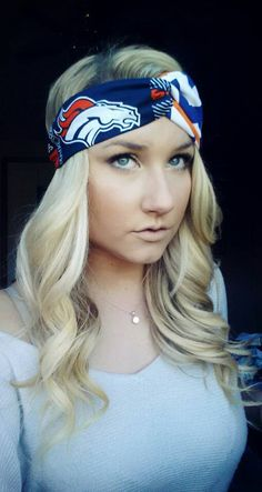 Denver Broncos and chevron twist headband by TheWoodenAntler