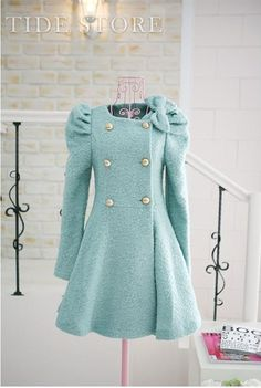 Sweet Korean Style Bow Knot Puff Sleeve Double Breasted Coat: tidestore.com