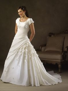 Famous Floor Length A-Line Short Sleeves Sweep Train With Applique,Bandage Wedding Dresses WDresses01025
