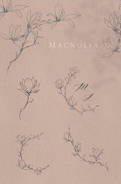 Magnolia Fine line Clipart Hand drawn fine art graphic Blossom Botanical line art - New Ideas Flower Tattoos, Small Tattoos, Black Tattoos, Modern Tattoos, Feather Tattoos, Tattoo Grafik, Flor Magnolia, Tattoo Fleur, Tattoo Ideas