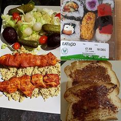 Meals for today. Toast with marmite. Vegetable sushi - Chicken tikka skewers, cous cous, salad - Also a mini mince pie for Silver Palate Cookbook, Sushi, Chicken Marbella, Mincemeat Pie, Sw Meals, Eat And Go, Couscous Salad, Marmite, Bakken