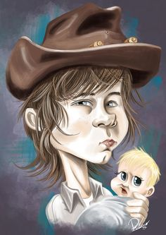 Chandler Riggs in the role of Carl - caricature by Ribosio #thewalkingdead gallery --> http://sketchandbreakfast.com/twd/