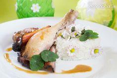 Stehienko na slanine so sedmokráskovou ryžou - recept   Varecha.sk Eggs, Breakfast, Food, Meal, Egg, Essen, Egg As Food, Morning Breakfast