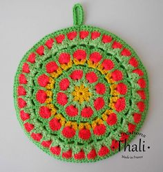Ravelry: Mandala African flower 1 pattern by Thali Créations Mandala Au Crochet, African Flowers, Craft, Pot Holders, Ravelry, Crochet Earrings, Pattern, Crocheting, Mandalas