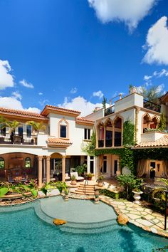 Mediterranean Home with Multi-level Pool