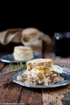 Rosemary Beer Biscuits with Stout Sausage Gravy, I must make these for ...