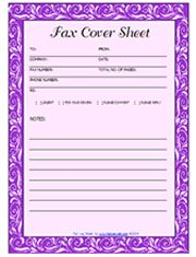 purple fax cover sheet template