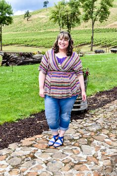 Comfort is key when doing an all-day wine tour!  Hailey is wearing the Kiyonna Promenade Top, Catherines Girlfriend Jeans, and Anna Ankle Strap Sandals by Crocs. - DivineMrsDiva.com #KiyonnaStyle #Kiyonna #KiyonnaPlusYou #LaneBryant #catherines #catherinesstyle #Crocs #psblogger #plussizeblogger #styleblogger #plussizefashion #plussize #psootd #ootd #Spring #summer #style #plussizeclothing #plussizecasual