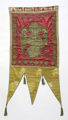The Sable Rose - Banners and Flags for information on late 15th century European banners, and how they were made - gold embroidered processional banner in the collections of Detroit Institute of Art