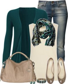 Love colors. I'd wear everything. Obsessed with cardigans and flats. Love the scarf colors and style
