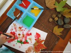 nature table extended, Reggio Emilia Approach: Observational Art in Child-led Projects - Investigating Autumn Leaves - Using Watercolours