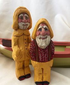 Whittled folky fishermen, hand carved and painted by Elizabeth Brown, Liverpool,NS