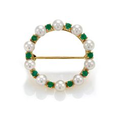Emerald and Pearl Circle Brooch - Heming Jewellers London - Diamond Rings, Diamond Jewellery, Watches and Antiques.