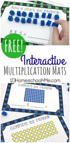 These free Interactive mats are a fun MULTIPLICATION ACTIVITIES to help kids learn about and practice math. They are not only great multiplication activities but for grade are free hands on homeschool math centers and FUN! Maths 3e, Multiplication Activities, Math Activities, Math Games, Division Activities, Math Stations, Math Centers, 3rd Grade Centers, Third Grade Math