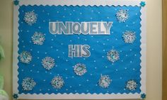winter boards pintrest | Winter snowflake bulletin board. | bulletin boards