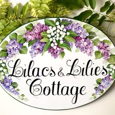 Custom house sign What name would you prefer for your home? Certainly it would be more personalized! Flower Pot Art, Flower Pots, China Painting, Tole Painting, Cottage Signs, Cottage Names, Flower Wreath Illustration, Beautiful Cake Designs, House Plaques