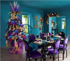 dining rooms, chair, blue, purple christmas, colors, christmas decorations, christma tree, christmas decorating ideas, christmas trees