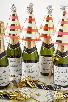 new years eve toast champagne labels