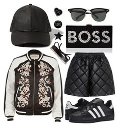 """BO$$ BABE"" by rndmchick ❤ liked on Polyvore featuring Ray-Ban, Abercrombie & Fitch, Fallon, adidas Originals, River Island, Milly, STELLA McCARTNEY, Witch Worldwide, agnès b. and StreetStyle"