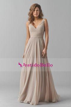 2015 V-cuello de dama de honor vestidos de una línea de gasa con Sash