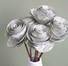 bunga dari koran bekas