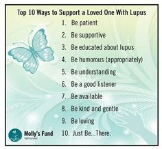 10 Ways to Support A Loved One with Lupus >> Good Samaritans Pay It Forward. Be A Blessing To Others << Chronic Illness, Chronic Pain, Lupus Support, Lupus Facts, Lupus Awareness, Good Listener, Invisible Illness, Rheumatoid Arthritis, Tips Belleza
