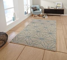 Alpha, Contemporary 100% Wool Rug, Hand Knotted in Beige and Blue, Geometric Design