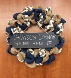 Baby Announcement Wreath Hospital by LottieGraceDesigns on Etsy