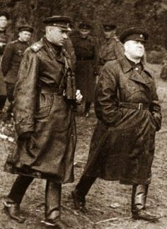 World War II, Great Patriotic War. Soviet Marshals Konstantin Rokossovsky and Georgy Zhukov at the front, 1943 – 1945.