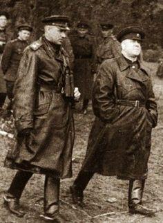 World War II, Great Patriotic War. Soviet Marshals Konstantin Rokossovsky and Georgy Zhukov at the front, 1943 – 1945.