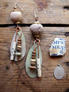 Serenity  artisan earrings  vintage tin  hand by sparrowsalvage, $64.00
