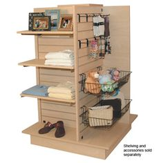 maple - 4 Way unit sides hanging and base W x DShips TruckAssembly requiredShelving and accessories sold separately. Woodworking Software, Woodworking Planes, Exhibition Booth Design, Exhibition Stands, Exhibit Design, Baby Store Display, Bulk Store, Kitchen Display, Web Banner Design
