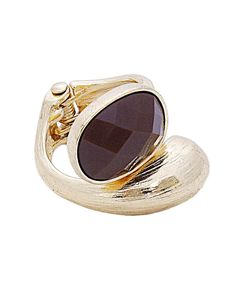 Oval Epoxy stone with Metal Hinge Ring - IXR0140-SMOKE TOPAZ