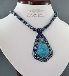 FREE SHIPPING Necklace with the stone Jasper, azure coast, bead necklace, blue necklace, necklace with the stone, ooak  This unique necklace will be the perfect special occasion accessory to dress up your everyday casual look. The Jasper -beaded necklace is handmade with shades of blue and bronze. The pendant is created using an embroidery technique that surrounds the jasper stone. Each necklace is one of a kind; there will never be another one exactly like it. This truly is a beautiful and…
