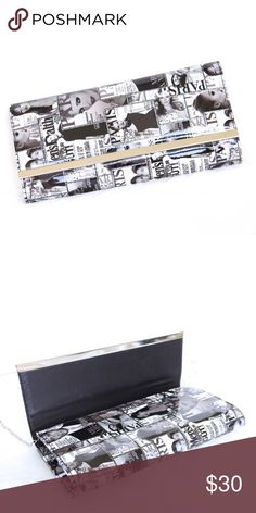 """Magazine Clutch ✨Dimensions- Length: 13.25"""" Height: 6.5"""" Width: About 2"""" ✨Magnetic closure ✨Glossy finish ✨Detachable silver chain strap ✨Comes with protective dust bag ✨Excellent condition Bags Clutches & Wristlets"""