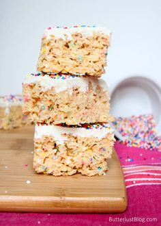 White Chocolate Cake Batter Krispie Treats
