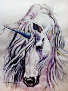 Jackie Campbell ~ Art of the Horse Well, this will be my second post so thought I'd share something quite different from my first painting. This was a commission request and my first unicorn! The horn caused me more grief than the rest of the painting! Acrylic on canvas textured paper titled 'Aurora'