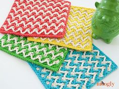 The Bright Chevron Dishcloth was designed by Tamara Kelly. To make this project you will need Medium Weight Yarn [4] and a 5.5 mm (I) hook. The finished dishcloth measures 9 inches X 9 inches.